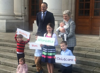 Leo Varadkar and Katherine Zappone  announcing the roll out of childcare subsidies in September.