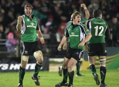 Muldoon and Ian Keatley celebrate a win in 2008.