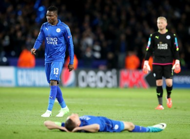 Leicester City's Daniel Amartey (left), Kasper Schmeichel (left) and Jamie Vardy after the second leg of the UEFA Champions League quarter final match at the King Power Stadium.
