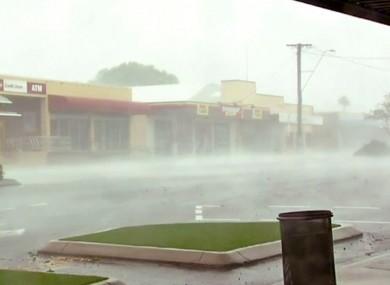 Wind gusts outside shops in Bowen, eastern Australia