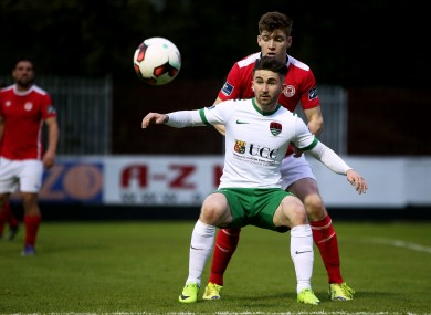 Cork City striker Sean Maguire with Rory Feely of St Patrick's Athletic.