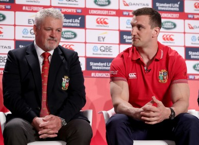 British and Irish Lions head coach Warren Gatland and captain Sam Warburton.
