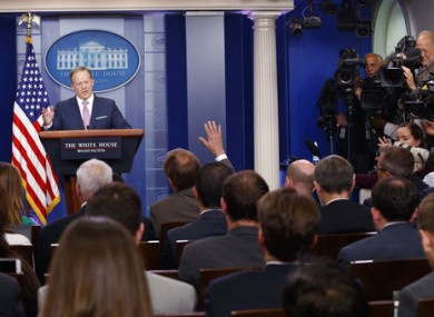 White House press secretary Sean Spicer speaks during the daily press briefing yesterday.