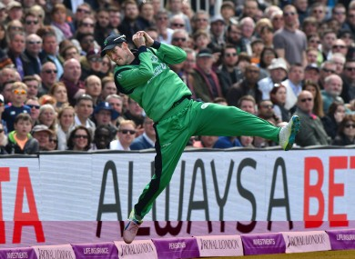 George Dockrell saves three runs by stopping Jonny Bairstow's strike going for a six.