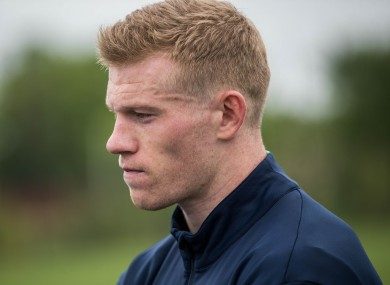 James McClean speaks to the media at the Republic of Ireland Press Briefing in New Jersey.