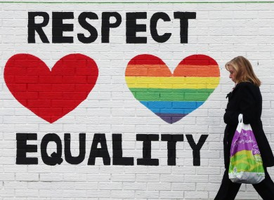 A mural in support of same-sex marriage on the Falls Road, Belfast.