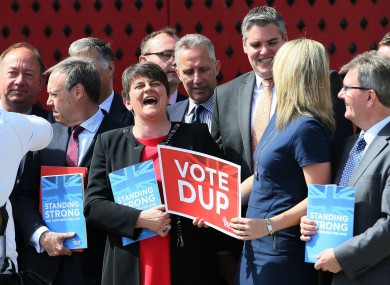 DUP leader Arlene Foster with election candidates in Antrim