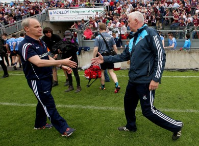 Michael Donoghue and Ger Cunningham after their clash in Tullamore.