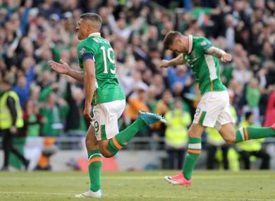 Ireland's Jon Walters celebrates his goal.