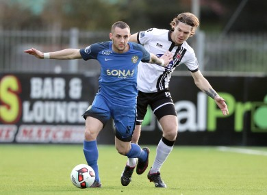Connolly holds off Dundalk's Niclas Vemmelund.