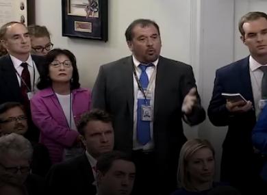 Brian Karem at yesterday's White House press briefing.
