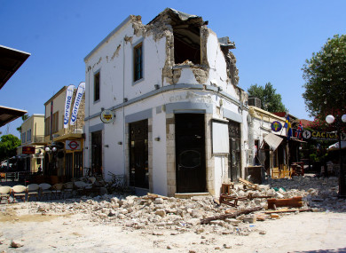 Rubble outside a bar on the Greek island of Kos where two people were killed during an earthquake on Friday morning.