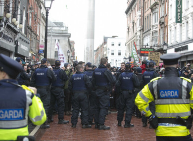 Members of the Garda Public Order Unit, not involved in the case, engage with protesters on the day of the Pegida march.