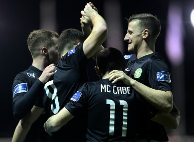 Bray Wanderers players celebrate after Aaron Greene scored against Drogheda United in March.