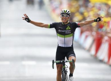 Edvald Boasson Hagen celebrates his stage win.