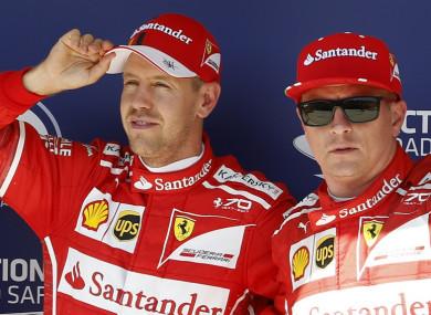 Ferrari''s Seabastian Vettel and Kimi Raikkonen.