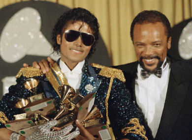 Michael Jackson with Quincy Jones at the 1984 Grammys, where Jackson scooped eight awards.
