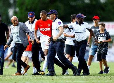 Mbappe leaving the pitch after a recent friendly with Stoke City.