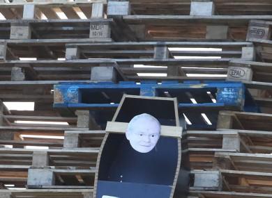 The coffin is part of a bonfire on Clonduff Road in east Belfast