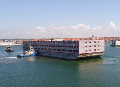 The Bibby Stockholm is one of two barges proposed for use as student accommodation in Galway.