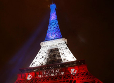 The Eiffel Tower illuminated in the French national colours after the November 2015 terror attack