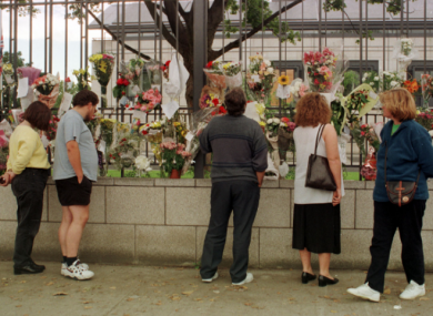 People leaving flowers at the British Embassy in Dublin, September 1997.