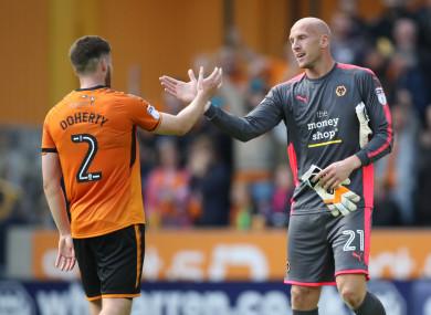 Irish defender Matt Doherty celebrates Wolves' victory with John Ruddy.