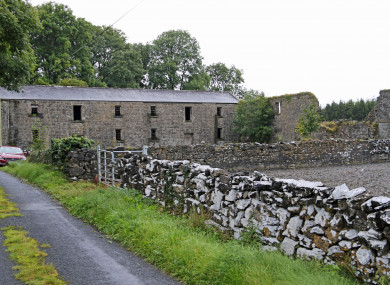 The remains of buildings are still on the site, which is still used for farming.