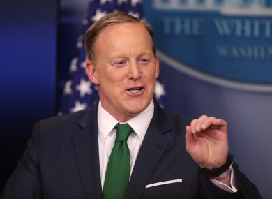Spicer speaks at the St. Patrick's Day reception  at the White House