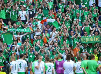 Ireland fans during Euro 2016.