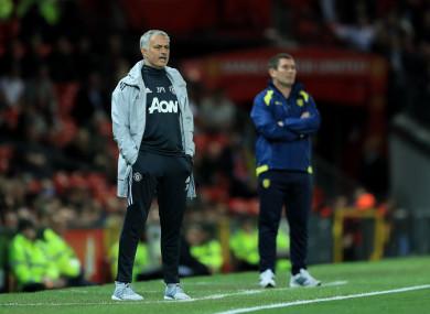 Mourinho on the touchline last night.