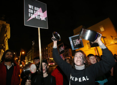 A pro-choice demonstration outside Leinster House earlier this year.