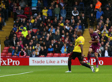 Manchester City's Gabriel Jesus scores his side's third goal during the Premier League match at Vicarage Road.