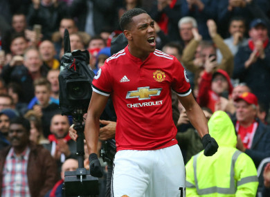 Anthony Martial scored Man United's winner against Tottenham on Saturday.