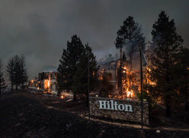 Santa Rosa Hilton Hotel burns to the ground in Santa Rosa.