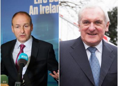 Fianna Fáil leader Micheál Martin and former Taoiseach Bertie Ahern.