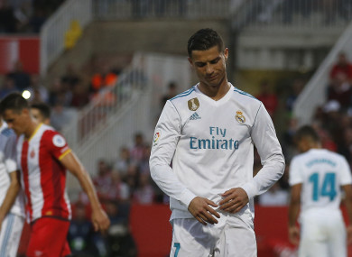 Cristiano Ronaldo looks down after another attempt on goal.