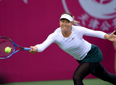Maria Sharapova in action in the semi-final of the Tianjin Open.