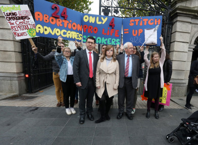 Senator Ronan Mullen and Independent TD Mattie McGrath hold protest against bias outside Leinster House
