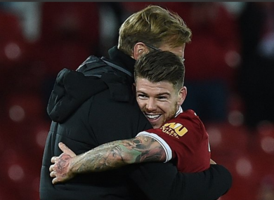 Alberto Moreno and Jurgen Klopp celebrate Liverpool's win over Southampton