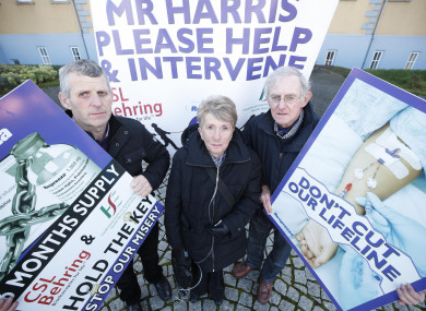 James Coffey, Josephine McGuirk, and Johnny Hannon at a vigil at HSE HQ on Respreeza.