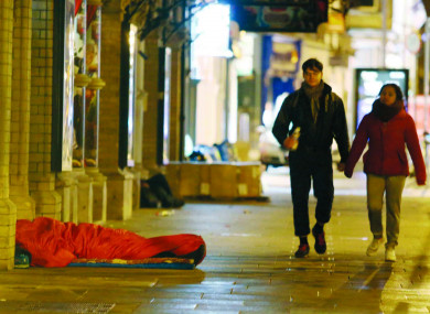 File photo of a rough sleeper in Dublin.