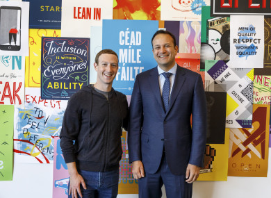 Facebook CEO Mark Zuckerberg and Taoiseach Leo Varadkar