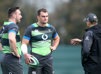 Jack Conan and Rhys Ruddock with Joe Schmidt during Tuesday's session.