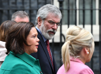 Gerry Adams in London this week with Mary Lou McDonald and Michelle O'Neill.