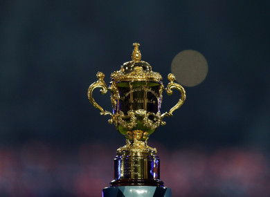 The William Webb Ellis Cup during the opening Rugby World Cup match at Twickenham Stadium in 2015.