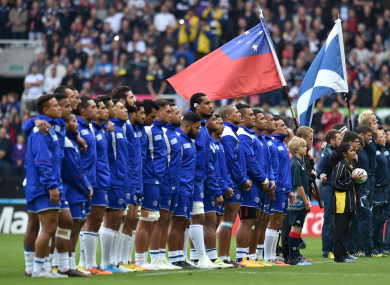 Samoa played Scotland at the 2015 Rugby World Cup.