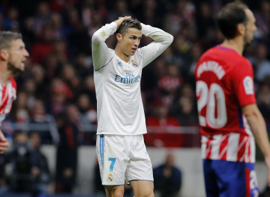 Real Madrid's Cristiano Ronaldo reacts to a missed chance.