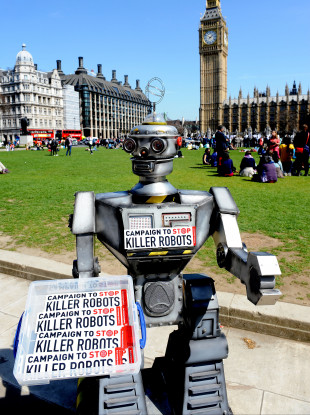 A robot during a photocall for the Campaign to Stop Killer Robots