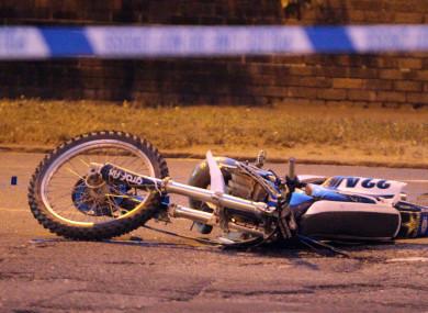 The aftermath of a scrambler bike crash in Liverpool last year.
